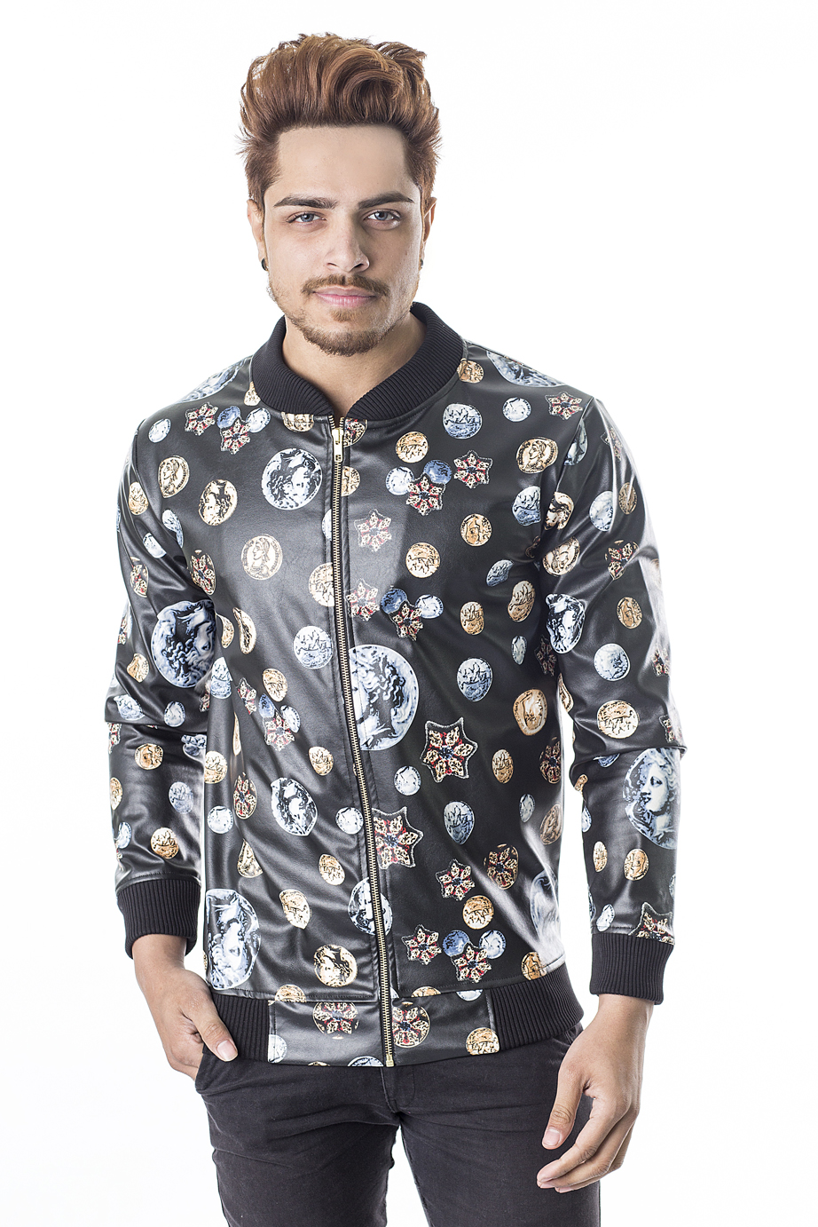 RELLIN-MEN-LONDON-COIN-PRINTED-LEATHER-JACKET